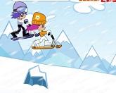Малышке на снежном скутере