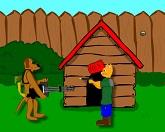Пёс Рекс на цепи с ружьём