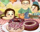 Дети и пончики